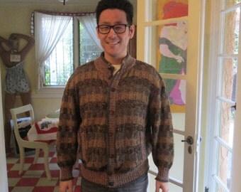 Vintage Men's Cardigan Size Medium Large / La Squadra France Wool Knit Checkered Sweater
