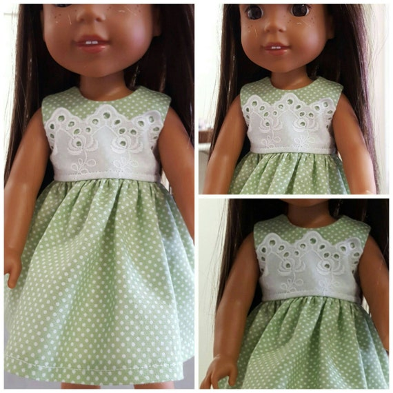 Lace and Polka Dots Dress for Wellie Wishers Dolls