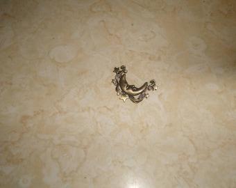 vintage pin brooch goldtone moon stars rhinestones