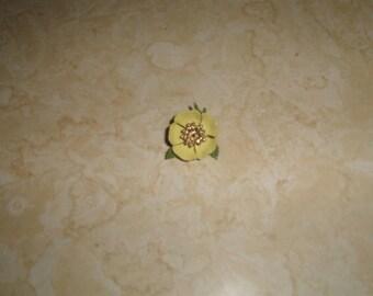vintage pin brooch yellow enamel metal flower