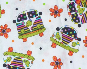 Volkswagon Bugs, Volkswagon Vans, Retro Cars Fabric, Hippie Cars, 1970's Retro, Flower Power, Vespa Scooters, By the Yard,  Groovy Fabric