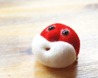 Christmas Santa Brooch -Needle Felted Father Xmas Gift Idea Pin Badge Red and White