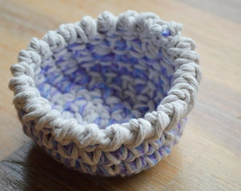 Crochet Bowl Made From String and lilac Wool, Small, Decorational Storage