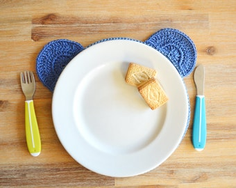 Blue Crochet Teddy Place Mat - Handmade from 100% Cotton Yarn
