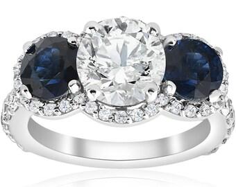 Sapphire Diamond Engagement Ring 3 1/2ct Halo Three Stone Round Brilliant cut Solitaire Genuine Real Stones Blue Sapphire Clarity Enhanced