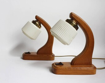 Pair of 1960s Table Lamps. Wooden bedside lights. Midcentury Modern Lighting. Funky / teen / dorm / night lights. Flawed/ Reduced.