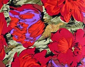 Red Purple Floral Fabric, 100 Percent Cotton, Fabric by the Yard