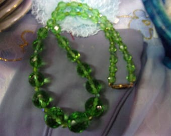 Vintage Green Crystal Beads