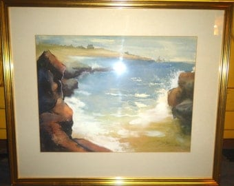 Framed Watercolor Herzog 1951 Shoreline Scene