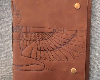 Isis Egyptian Goddess Brown Leather Journal/ Sketchbook/ Notebook/ Spellbook