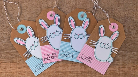 Easter gift tags set of 6 easter hang tags easter bunny like this item negle Images