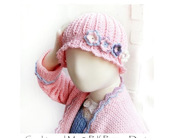 Beanie with Flowers for girls, Crochet Pattern - Instant Download