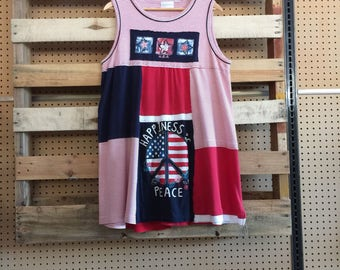 Upcycled Patriotic red white and blue 4th of July Tank Dress,  Patchwork T-Shirt Dress