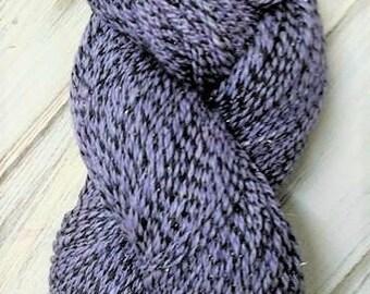 Handspun Worsted Weight 3 ply Yarn 9.5 ounces 440 yards Purple Black Superfine Merino Wool Bamboo Tussah Silk