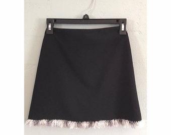 90s Black Mini Skirt with Fluffy Trim