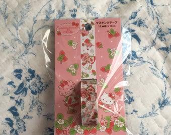 NEW Japanese masking tape sanrio Hello Kitty x Straberry shortcake White