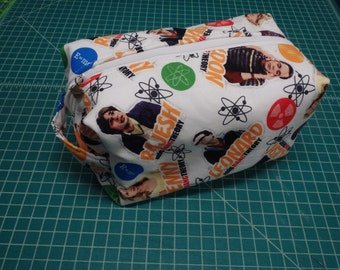 Big Bang Theory Bag, Comicon Bag, Zip Pouch, Ditty Bag, Toiletry Kit, Pencil Case, Toy Bag, Shave Kit, Travel Case in Black or White