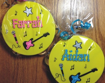 """Personalized Tambourine  5"""" / Rock Star Party Favor / Personalized and Gift Wrapped Tambourine / Music Party Favor / Instrument Party Favor"""