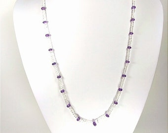 White Beryl (Goshenite) and Lavender Quartz - Therapeutic Quality Gemstone Necklace for Healing