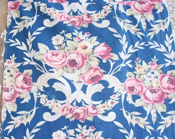 Rare 1920s Scrolled English Pink Cabbage Rose Floral Vintage Blue Drapery Panel