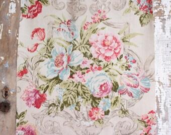 Aqua Pink English Cabbage Rose Floral Pattern Chic Garden Cottage Designer Decorative Throw Pillow