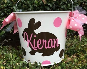 Personalized Easter Buckets - Easter Pail - Easter Egg Hunt - Easter Bucket - Pail With Bunny - Bucket With Bunny