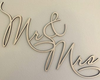 """Mr and Mrs: Custom 18"""" x 24"""" Laser Cut """"Mr and Mrs"""" Wall Art Sign, 1/4"""" Natural Baltic Birch"""