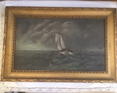 "Antique Petite Sail Boat Ocean Waves Sea  Oil Painting 14 5/8"" x 9 3/4"""