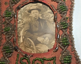 Antique 1907 Framed Photograph. Bead Embroidery. Seed Beads. Edwardian Portrait. Sepia Photography . Picture Frame.