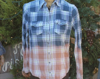 M Destroyed Flannel Shirt / Distressed Flannels / Size Medium Shirt / Long Sleeve Plaid Flannel / Bleached, grunge Dipped Shirt  FF78