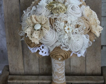 Rustic Glam Burlap Bridal Brooch Bouquet with pearl and gold brooches and jewels  - burlap and lace wedding bouquet