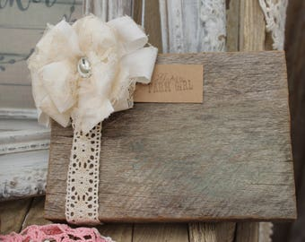 Rustic and Shabby Wooden Photo Frame, document frame, 4 x 6 frame, vintage lace and twine, reclaimed lumber, vintage style frame, farmhouse