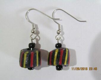 Black Striped Earrings