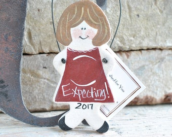 Expecting Pregnant Lady Salt Dough Ornament Christmas Baby Shower Gift