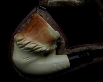 Horse's Hoof HorseShoe Smooth Bent Block Meerschaum Pipe Gift for Men Xmas 9414