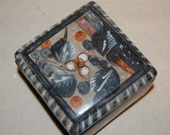 Old Mexico Rustic Pottery Ceramic Trinket Box Hand Painted