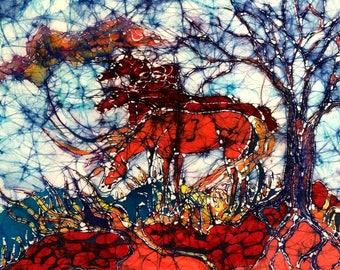 Horse Spirit - The Gathering  -  batik print from original -  wall art