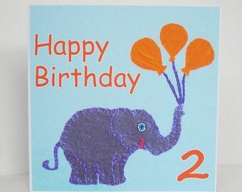 Second Birthday Card, Elephant Card, Boys Birthday Card