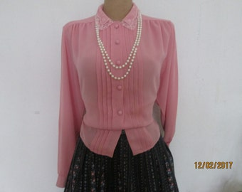 Womens Blouse / Blouse Vintage / Buttoned Blouse / Pink Blouse / Womens Pink Blouse / Size EUR 42 / UK14