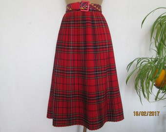 Woolen Pleated Skirt / Pleated Skirt / Pleated Skirts / Tartan Skirt / Plaid Skirt / Checkered Skirt / Size EUR42 / UK14