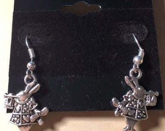 Silver Accented White Rabbit Inspired Dangle Earrings for Pierced Ears, Animal Inspired