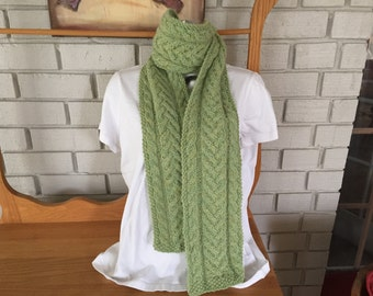 Hand knit cable scarf/alpaca/green