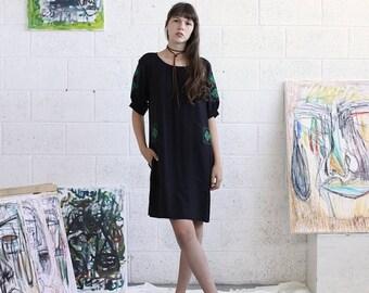 Pre Winter Sale 15% Embroidered Dress, Black Midi Dress, Black Casual Dress