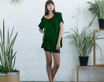 Pre Winter Sale 15% Velvet Top, Green velvet shirt , short sleeve velvet shirt.