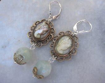 Antique Shell Cameo Earrings with Aquamarines, Victorian Cameos, Victorian Jewelry, Dangling Earrings