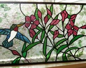 Stained Glass Panel  Hummingbirds and Oleander 20.5 by 11.5