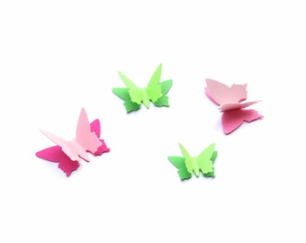 Paper Butterflies, 150 count flat butterflies or 60 count 3D butterflies, pink baby shower decor, green butterflies, spring garden party