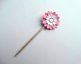 Mini Cupcake Toppers, flower cupcake topper, layered paper flower, garden party accent, dessert decorated toothpick