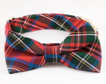 Classic Plaid Bow Tie Dog Collar, Holiday Dog Collar, Bowtie Dog Collar, Red Dog Collar, Fall , Scottish, Flannel, Christmas