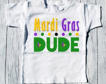 "Mari Gras tee shirt boys ""Mardi Gras Dude"" tee shirt boys kids"